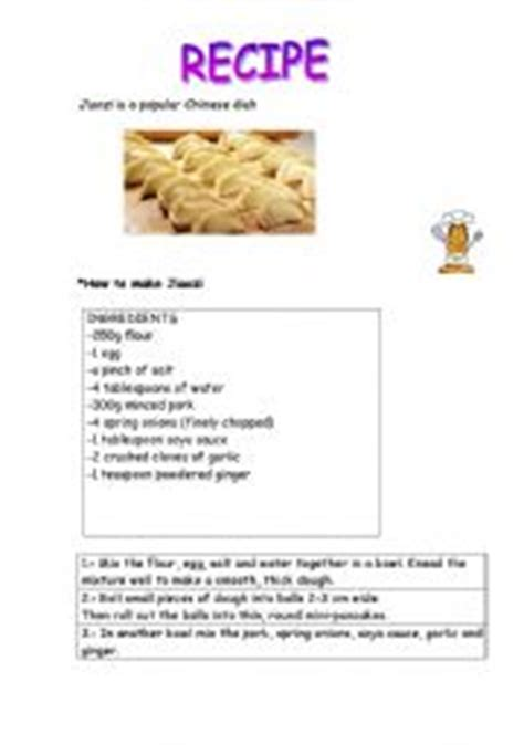 printable chinese recipes english teaching worksheets recipes