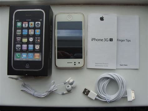 apple iphone gs white gb  box  usb cable manuals  headphones model  catawiki