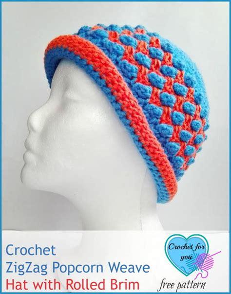 zig zag crochet braid pattern zig zag popcorn weave crochet hat pattern favecrafts com