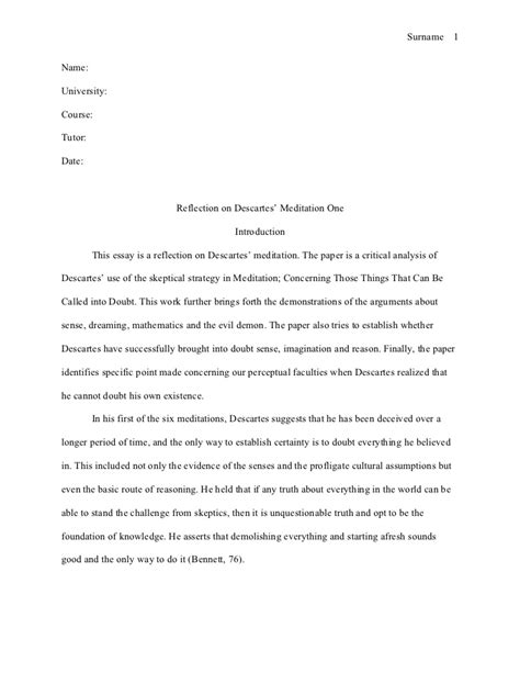 Reflection Layout Essay | mla style essay reflection on descartes