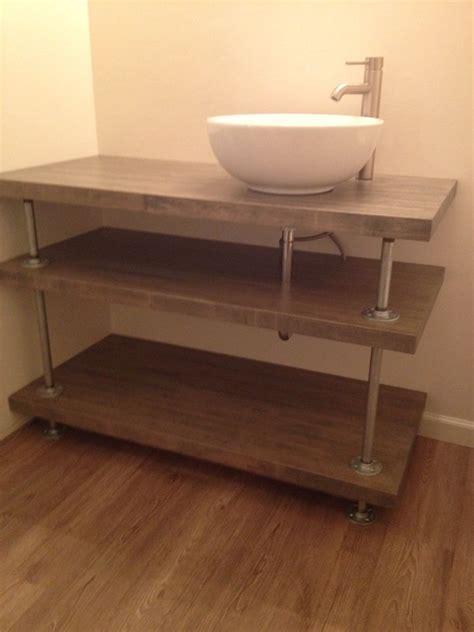 industrial bathroom vanities butcher block and galvanized pipe bathroom vanity rustic