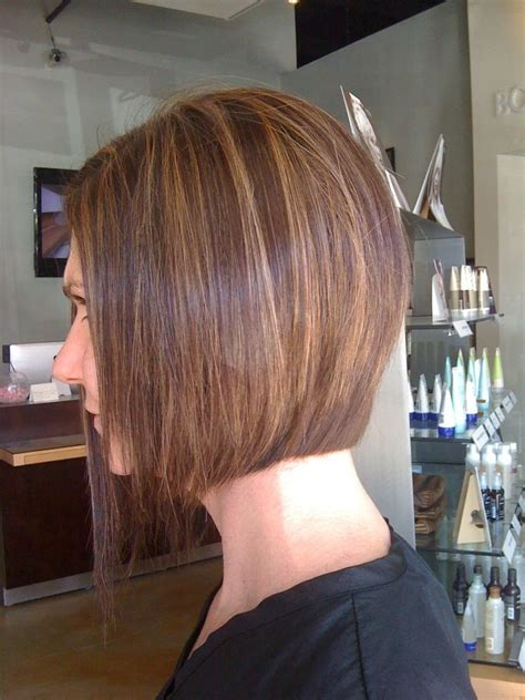 dark brown hair with caramel underneath on inverted bobs asymmetrical bob and chocolate brown with caramel