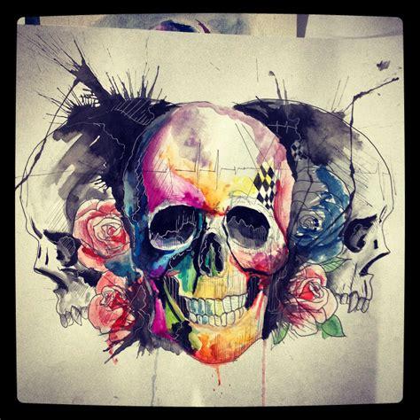 watercolor skull tattoo skulls watercolor lcjunior my