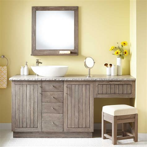 bathroom vanity with sink and makeup area 72 quot montara teak vessel sink vanity with makeup area