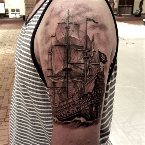 ship tattoo realistic pirate ship on shoulder best