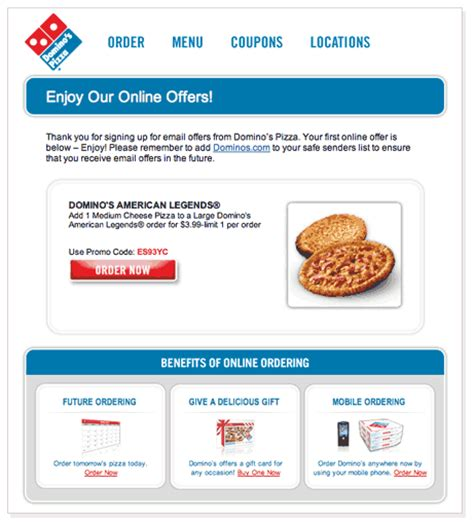 domino pizza email my pizza email marketing experience