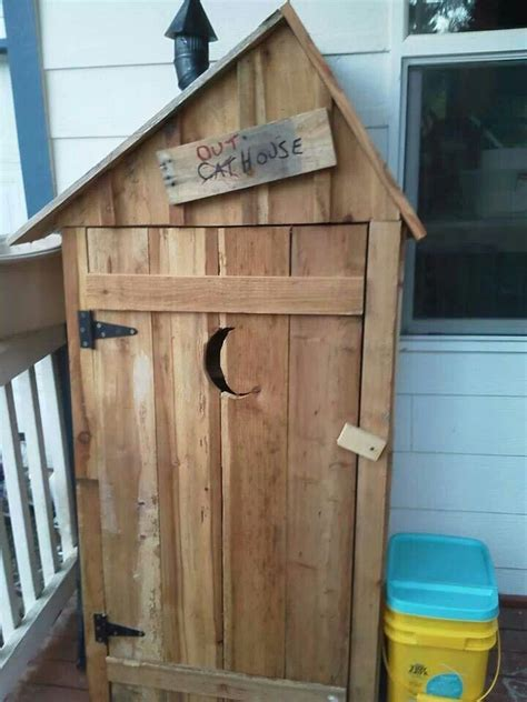 pallet outhouse cat litter cabinet cats enter through a in the wall no more litter box