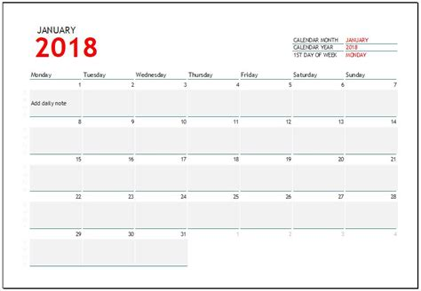 2018 Calendar Templates For Ms Excel Word Excel Templates