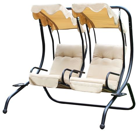 double swing chair double swing chairs with frame and canopy tan