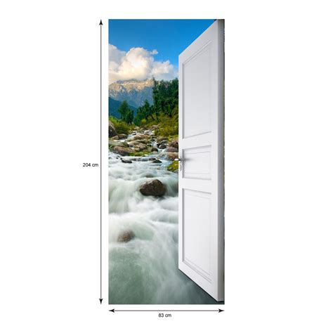 porte torrent sticker porte ouverte torrent dans la montagne 204 x 83 cm