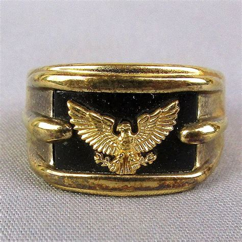 estate sterling silver 14k gold eagle ring w onyx 1991
