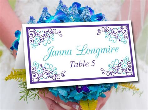 diy wedding place card template regency turquoise