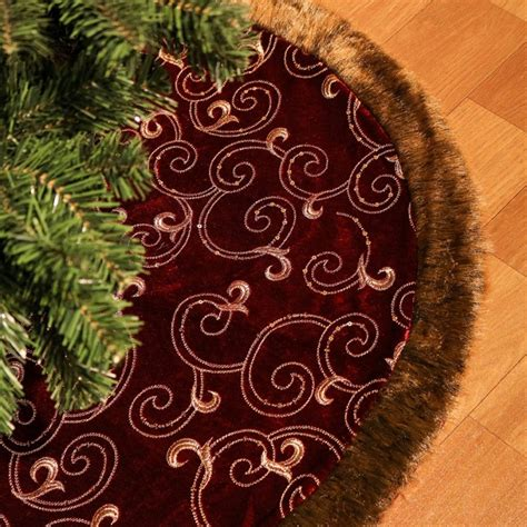 luxury collection burgundy and gold christmas tree skirt