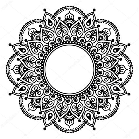 mehndi koronki tatuaż henna indyjska okrągły projekt lub
