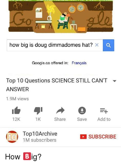 10 questions science 0230517587 how big is doug dimmadomes hat x o googleca offered in francais top 10 questions science still