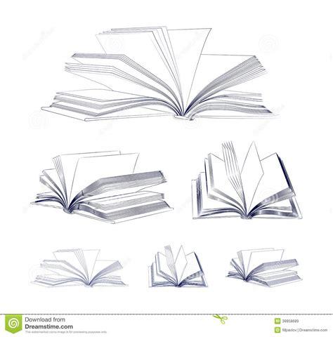 open sketch open book sketch set stock vector image 38858689