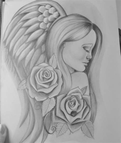 angel and rose tattoo designs sketches of design by stef