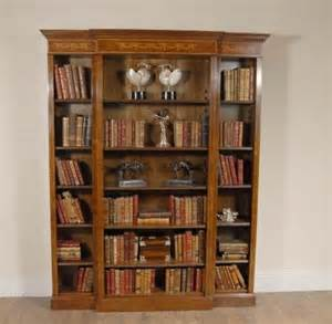 walnut breakfront bookcase sheraton regency for