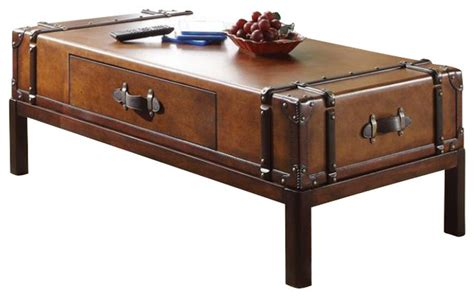 Suitcase Coffee Table Riverside Furniture Latitudes Suitcase Cocktail Table In Aged Cognac Wood Transitional