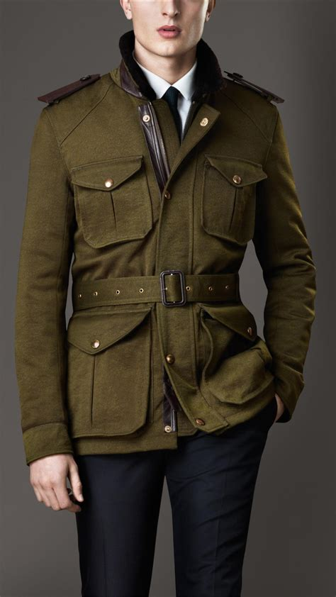 Csf Set Jaket Bulberry Navy Lyst Burberry Shearling Collar Field Jacket With Warmer