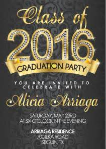 gold graduation invitations for college or high school printable class of 2016