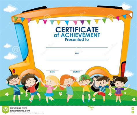 certificate template with children and school bus stock