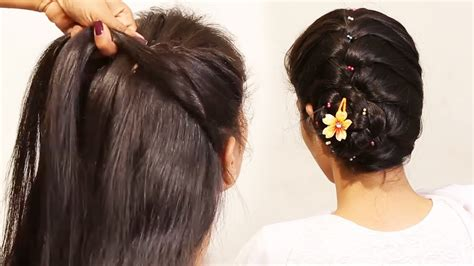 easy and simple front hairstyles simple ponytail messy bun puff hairstyles quick and easy