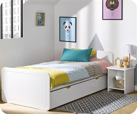 lits enfants but lit enfant gigogne lemon blanc 90x190 cm