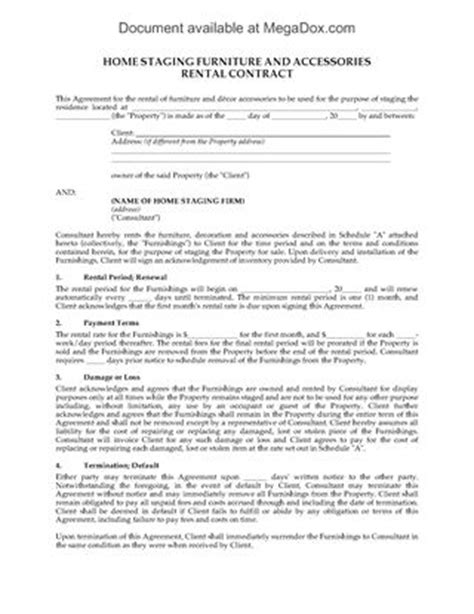 furniture rental agreement template home staging services contract forms and business