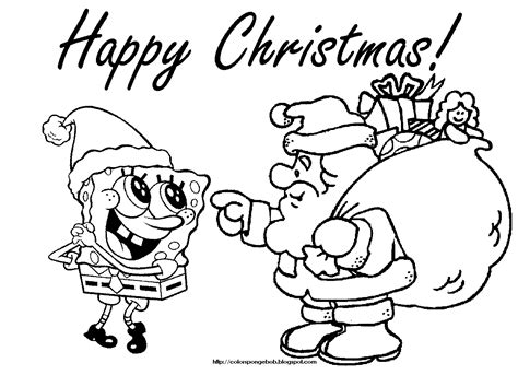 free coloring pages of spongebob christmas