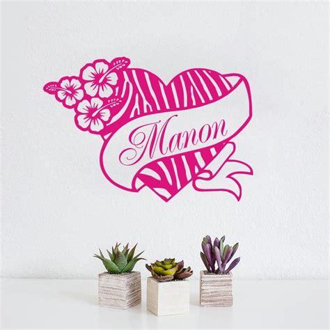 printable vinyl wall decals personalized zebra print heart flower hibis custom name