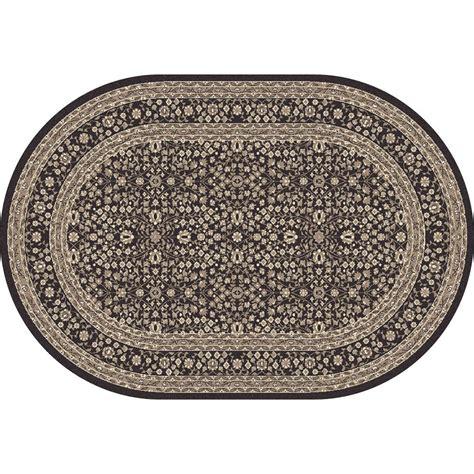Karpet Oval carpet kensington microfloral gray 6 ft 7 in x 9 ft 6 in oval area rug 841864106923