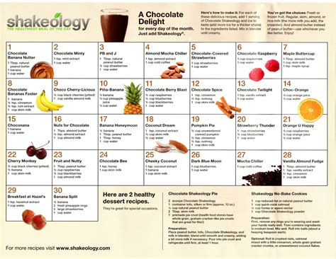 recipe calendar template miami fitness shakeology 30 day recipe calendar