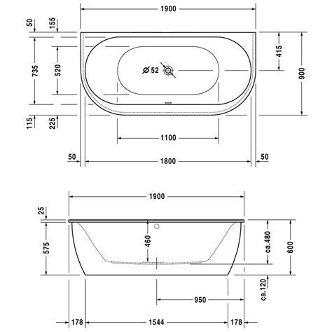 badewannen abmessungen duravit new badewanne vorwandversion 700248 megabad