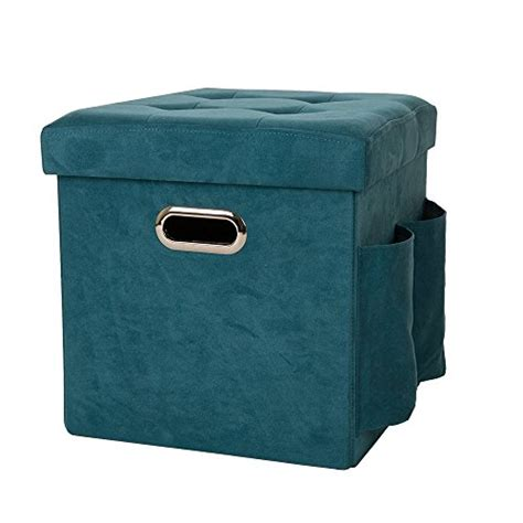 turquoise ottoman storage glitzhome foldable faux suede cube storage ottoman with