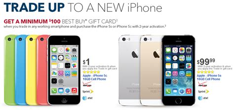bring in a trade to best buy and buy the apple iphone 5c for 1 or the apple iphone 5s for 99