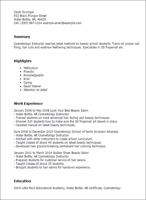 Beautician Cv Resume Sle sle cosmetology resume 28 images sle resume for