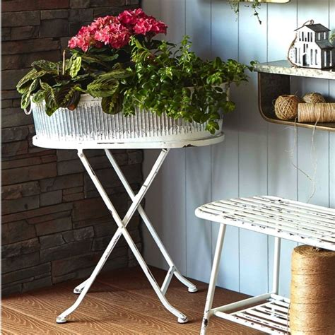 rustic white oval bucket plant stand antique farmhouse