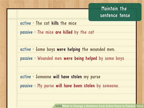 sentence pattern passive voice how to change a sentence from active voice to passive voice