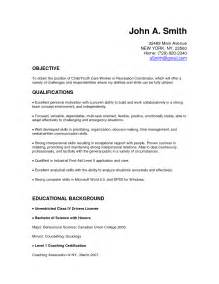 Objective For Resume For Child Care 10 Resume Cover Letter For Child Care Worker Writing
