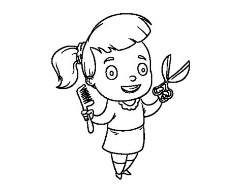 hairdresser coloring pages hairdresser with scissors and comb coloring page