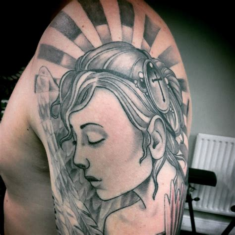 angel tattoo traditional neotraditional tattoo of woman angel on shoulder by