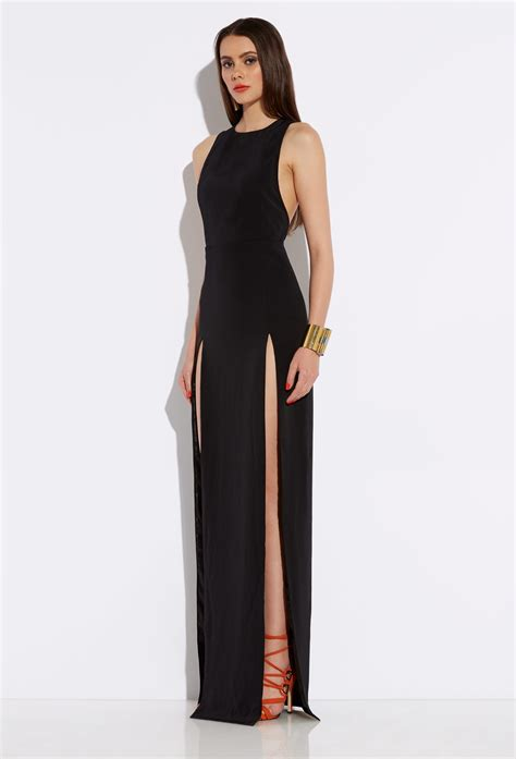 what is a slit l aq aq black high slit maxi dress
