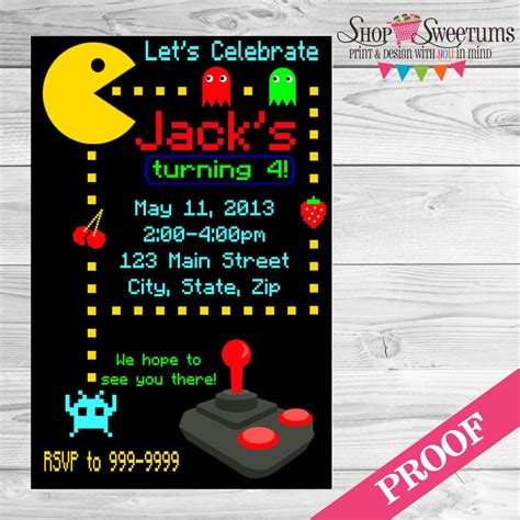 Digital Pacman Invitation Arcade Game Invitation Arcade Arcade Invitation Template