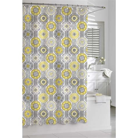shower curtain yellow mosaic yellow and grey shower curtain