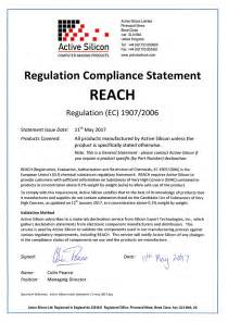 Reach Certification Letter Active Silicon Certifications