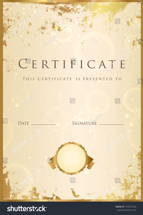 certificate diploma completion template background gold