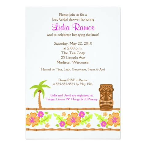 luau wedding shower invitations hawaiian luau tropical bridal shower invitation card