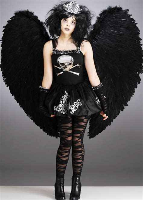 Teen Gothic Fallen Dark Angel Costume With Wings