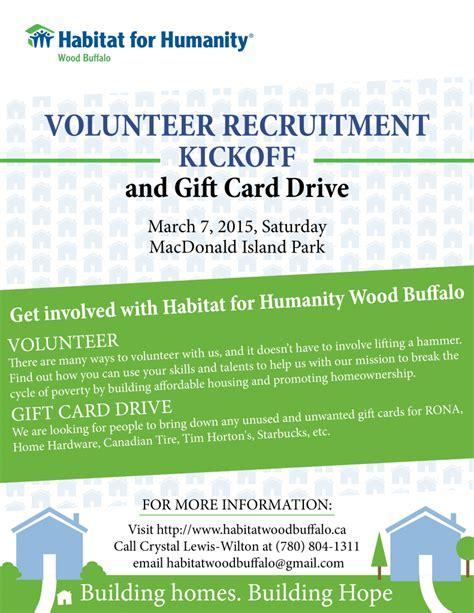 Habitat Gift Card - volunteer recruitment caign and gift card drive habitat wood buffalo